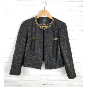 Forever 21 Black Shimmery Blazer Gold Chain Trim